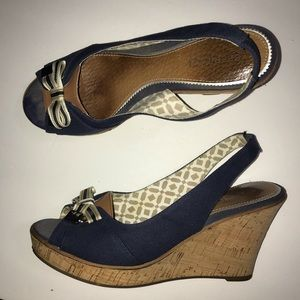 Sperry Sling Back Peep Toe Cork Heel Wedge 8.5